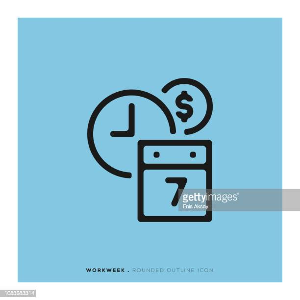 workweek rounded line icon - weekend activities stock illustrations