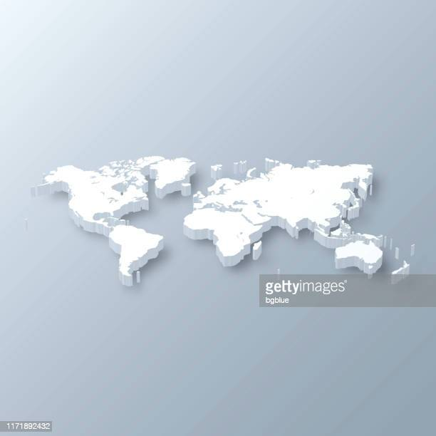 illustrazioni stock, clip art, cartoni animati e icone di tendenza di world 3d map on gray background - europa continente