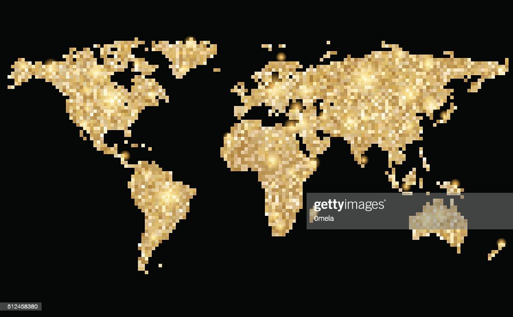 World abstract pixel golden map on black. Vector illustration.