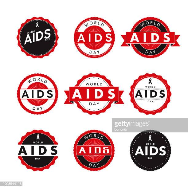 World AIDS Day Labels Icon Set