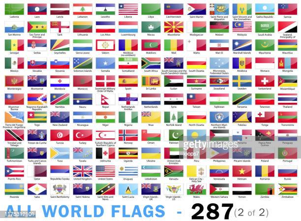 world all flags - complete collection - 287 items - part 2 of 2 - lebanon country stock illustrations