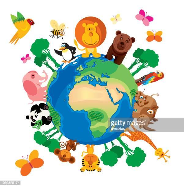 ilustraciones, imágenes clip art, dibujos animados e iconos de stock de mundo los animales - biodiversidad