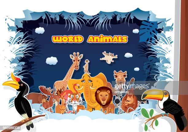 ilustrações, clipart, desenhos animados e ícones de animais do mundo - zoologia