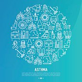 World asthma day concept in circle with thin line icons: air pollution, smoking, respirator, therapist, inhaler, bronchi, allergy symptoms and allergens. Vector illustration for banner, web page.