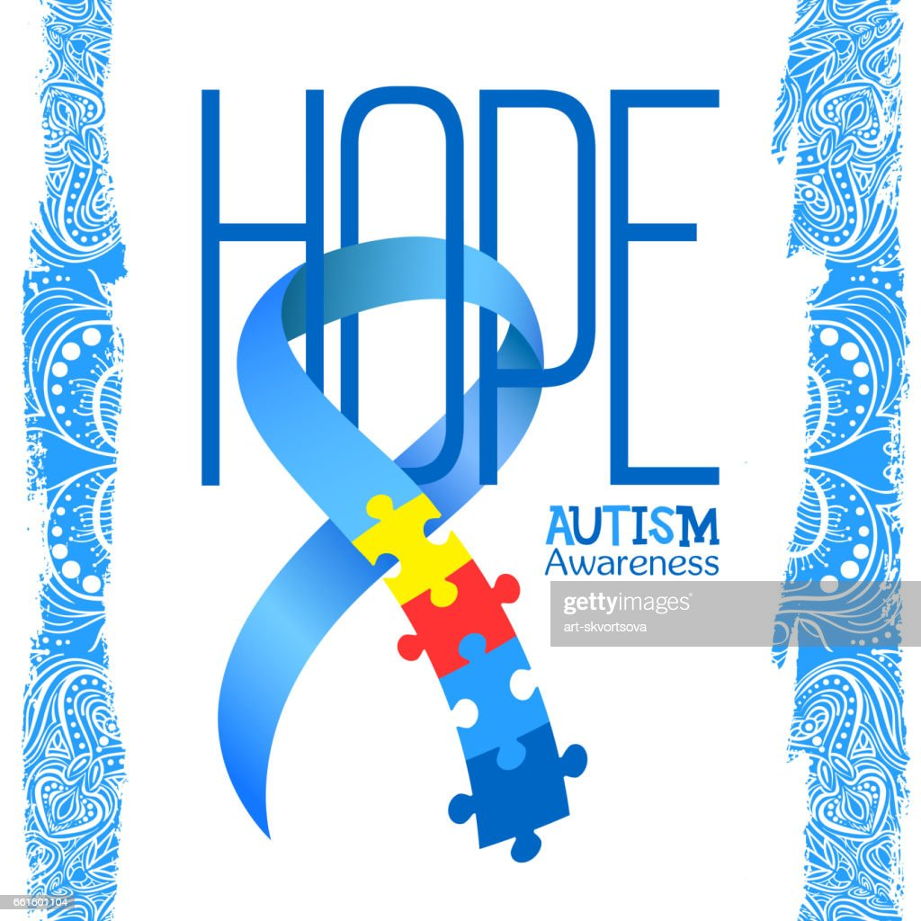 World Autism Awareness Day Blue Ribbon With Colorful Puzzles Vector Background Hope Symbol