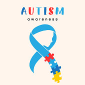 World autism awareness day. Blue ribbon with colorful puzzles with face vector background. Symbol of autism. Medical flat illustration. Health care