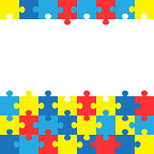 World autism awareness day. Colorful puzzles vector background. Symbol of autism. Medical flat illustration. Health care