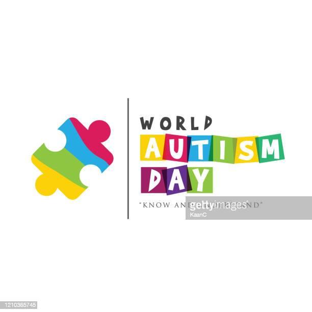 ilustraciones, imágenes clip art, dibujos animados e iconos de stock de día mundial de concienciación sobre el autismo. ilustración de stock de rompecabezas - autismo