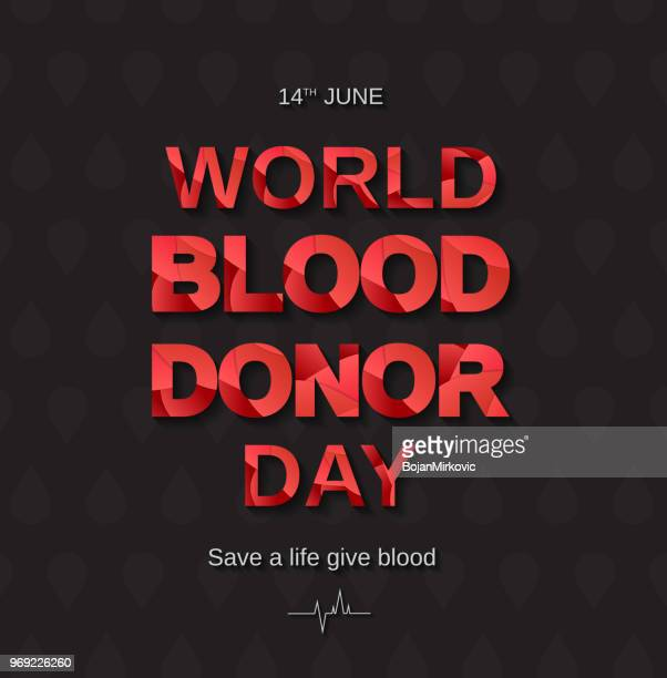 world blood donor day on black background with paper cut text. vector illustration. - cardiopulmonary system stock illustrations, clip art, cartoons, & icons