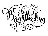 World breastfeeding week hand lettering on white background