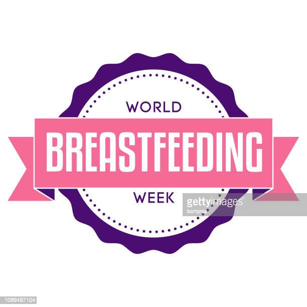 world breastfeeding week label - week stock illustrations