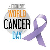 world cancer day celebration of cancer awareness with  globe eps10