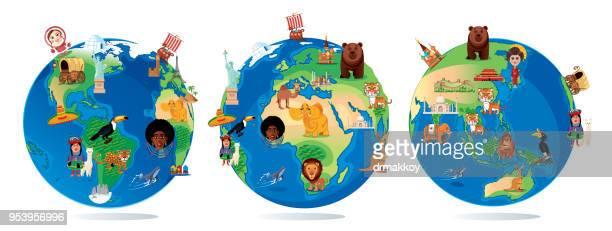 ilustrações de stock, clip art, desenhos animados e ícones de world cartoon map - madagáscar