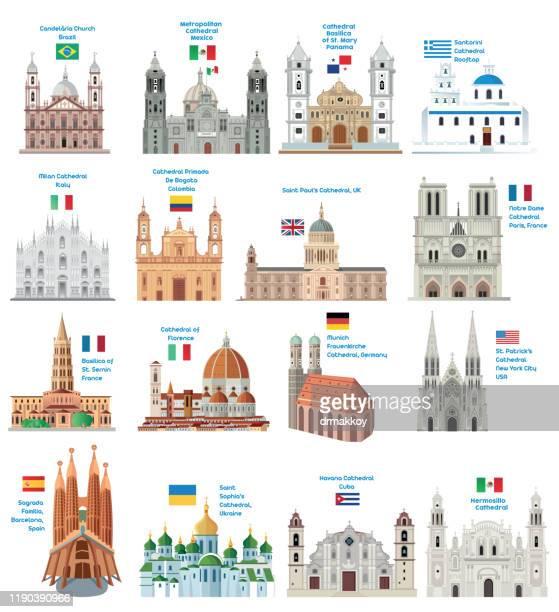 ilustraciones, imágenes clip art, dibujos animados e iconos de stock de catedrales del mundo - catedral