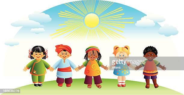 ilustraciones, imágenes clip art, dibujos animados e iconos de stock de mundo los niños - diversidad cultural