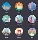 World Cities and Tourism Illustration Set 10