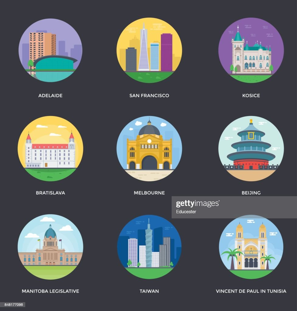 World Cities and Tourism Illustration Set 13
