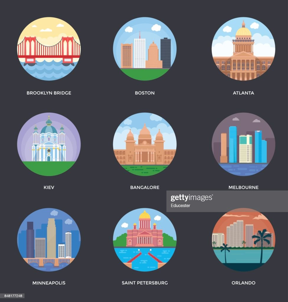 World Cities and Tourism Illustration Set 6