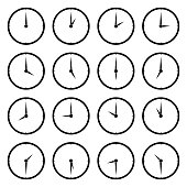 World clock, time zone vector icons