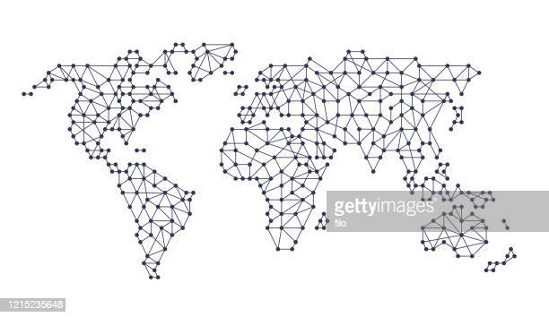 world connectivity line continents pattern - global village stock illustrations