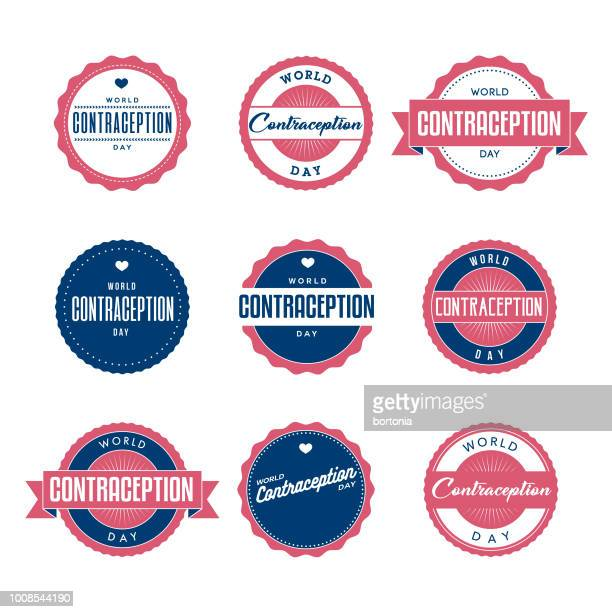 World Contraception Day Labels Icon Set