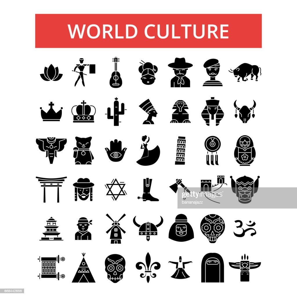 World culture illustration, thin line icons, linear flat signs, vector symbols, outline pictograms set, editable strokes