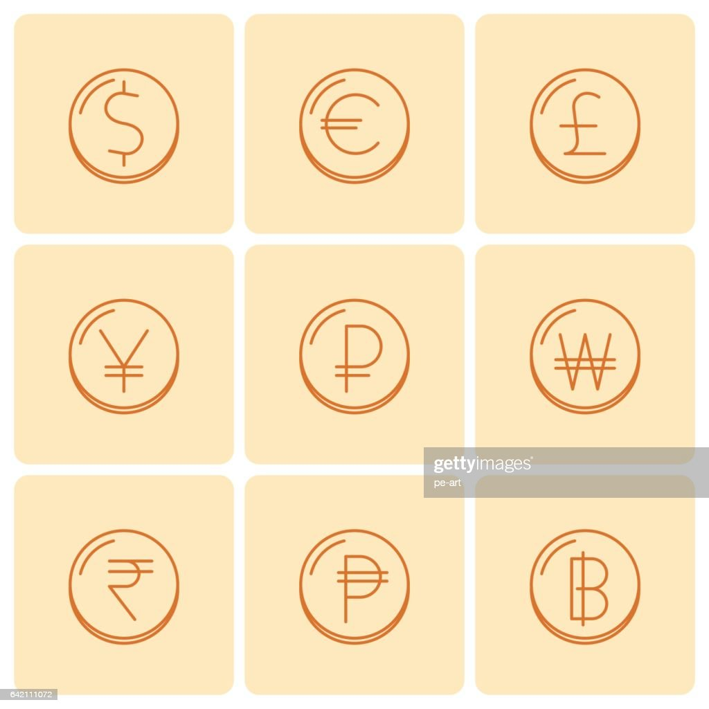 World Currency Symbols At Coins Vector Thin Outline Icon Set Vector
