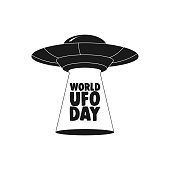 UFO world day. UFO Flying Saucer Icon isolated on white background.