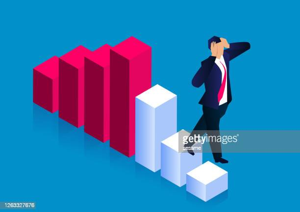 world economy and stock market plummeted, financial crisis, desperate businessman stepped down the bar graph - disappointment stock illustrations