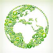 World Environmental Conservation Green Vector Button Pattern.