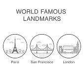 World famous landmarks icons set