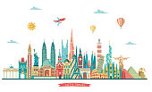 World famous monuments. Travel and tourism background.London, Paris, Moscow, Rome, New York, Asia, Dubai, India, China, Thailand famous monuments. Vector illustration