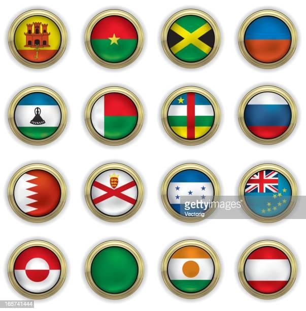 世界のフラグボタン - ジャージ素材点のイラスト素材/クリップアート素材/マンガ素材/アイコン素材