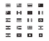 World Flag icons on white background. Vector illustration