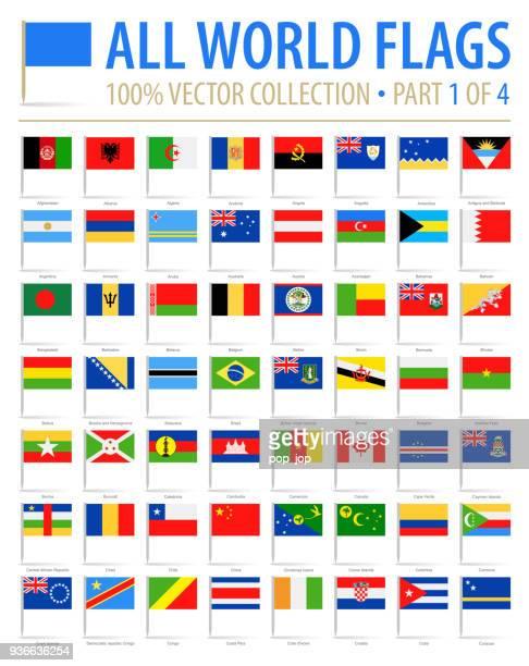 world flag pins - vector flat icons - part 1 of 4 - croatian flag stock illustrations, clip art, cartoons, & icons