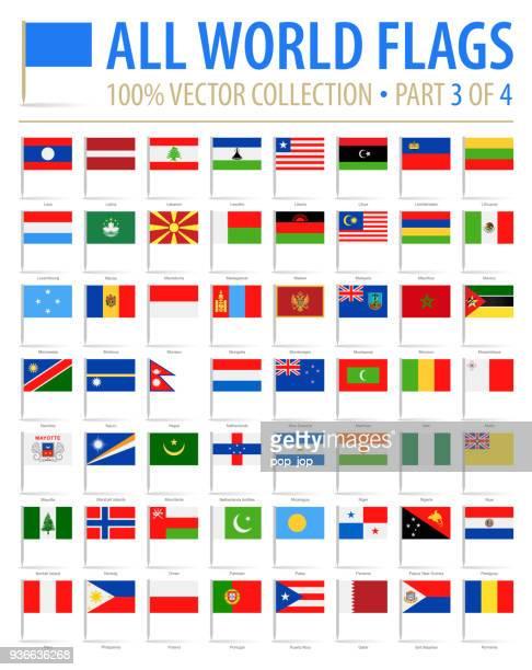 welt-flag pins - vector flache icons - teil 3 von 4 - polnische flagge stock-grafiken, -clipart, -cartoons und -symbole