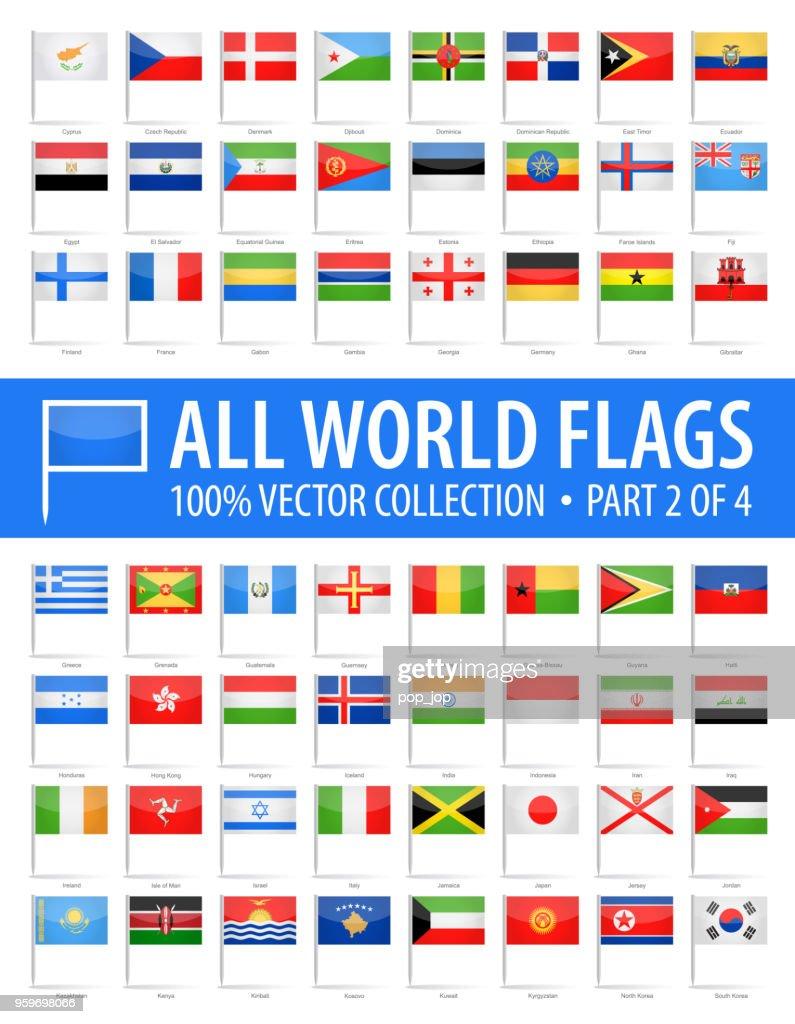 Welt-Flag Pins - Vector glänzend Icons - Teil 2 von 4 : Stock-Illustration