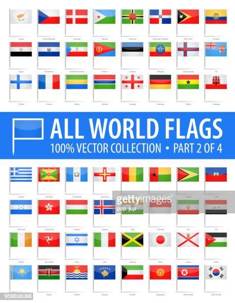 welt-flag pins - vector glänzend icons - teil 2 von 4 - flagge von georgien stock-grafiken, -clipart, -cartoons und -symbole