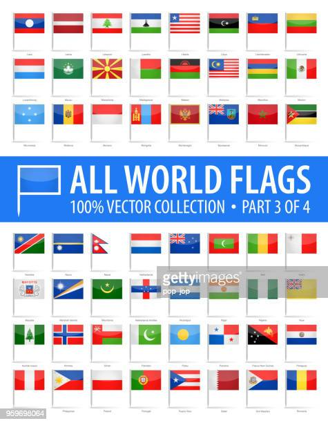 world flag pins - vector glossy icons - part 3 of 4 - brooch stock illustrations