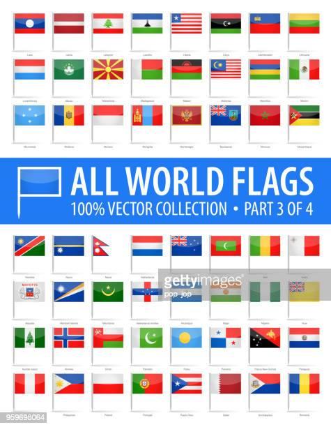 welt-flag pins - vector glänzend icons - teil 3 von 4 - polnische flagge stock-grafiken, -clipart, -cartoons und -symbole