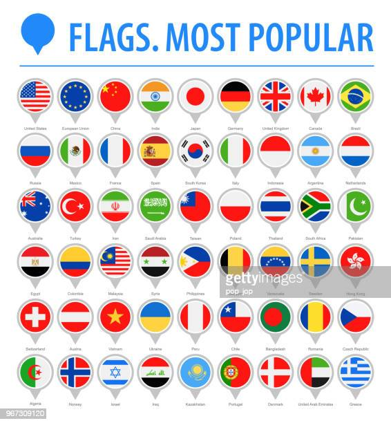 world flag round pins - vector flat icons - most popular - brooch stock illustrations