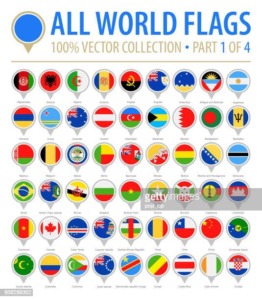 world flag round pins - vector flat icons - part 1 of 4 - brooch stock illustrations