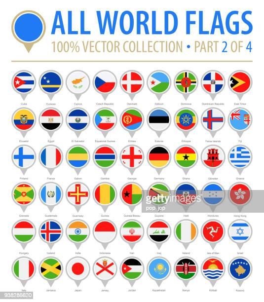 flagge der welt runden pins - flach-vektor-icons - teil 2 von 4 - ukraine stock-grafiken, -clipart, -cartoons und -symbole