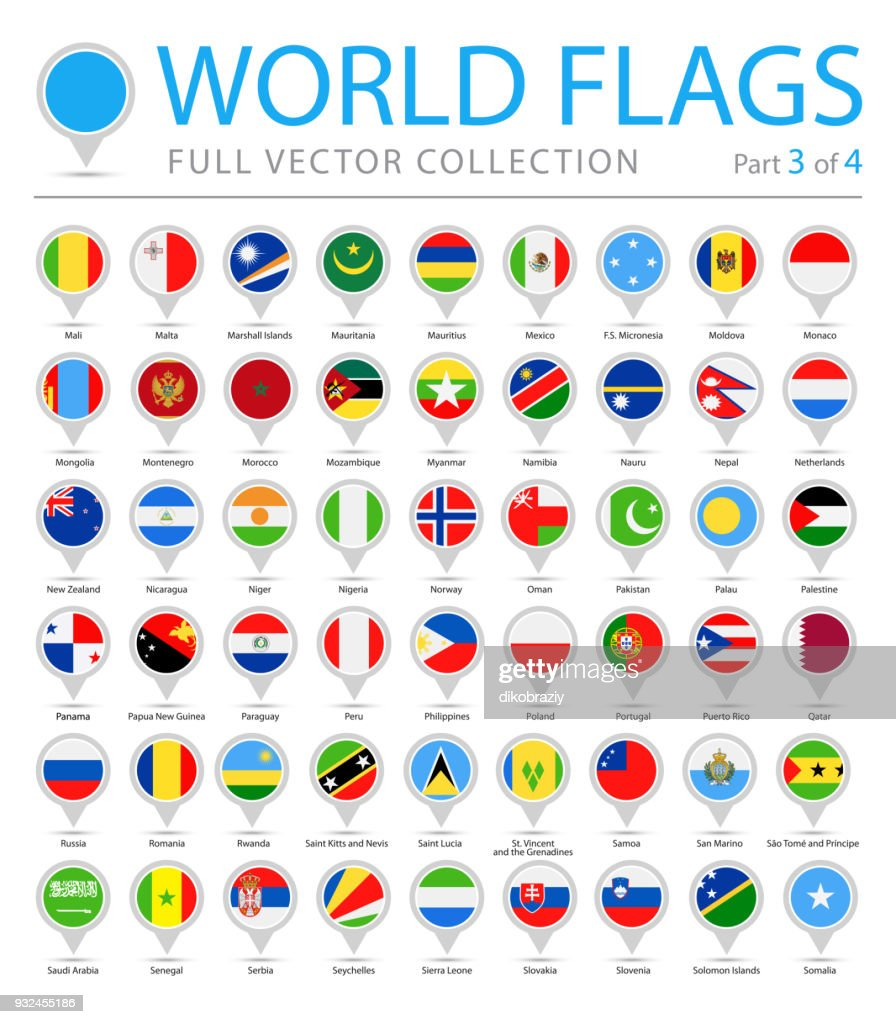 World Flag Round Pins - Vector Flat Icons - Part 3 of 4