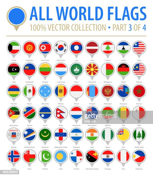 world flag round pins - vector flat icons - part 3 of 4 - macao stock illustrations