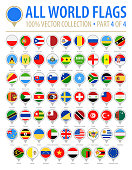 World Flag Round Pins - Vector Flat Icons - Part 4 of 4