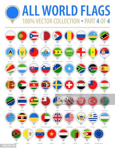 flagge der welt runden pins - flach-vektor-icons - teil 4 von 4 - russische flagge stock-grafiken, -clipart, -cartoons und -symbole
