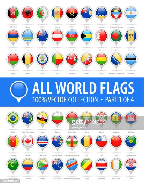 world flag round pins - vector glossy icons - part 1 of 4 - national flag stock illustrations