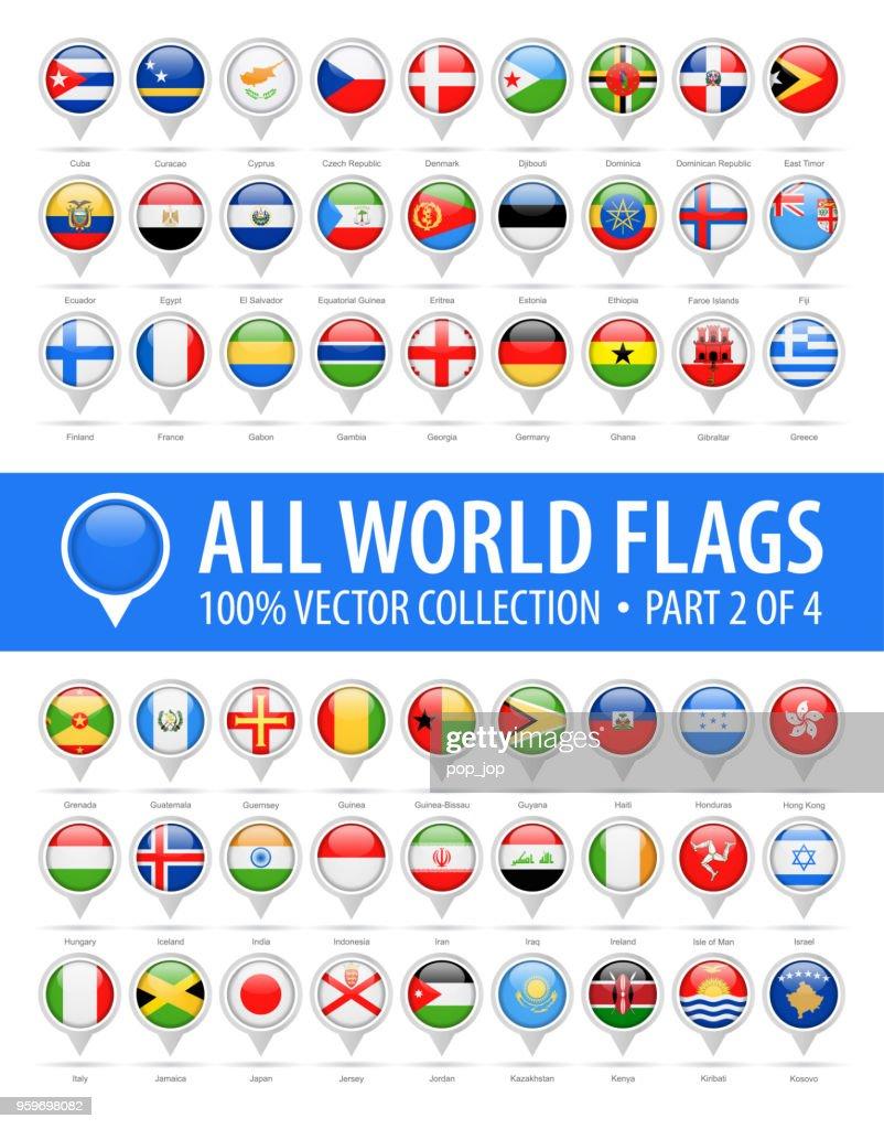 Flagge der Welt runden Pins - glänzend-Vektor-Icons - Teil 2 von 4 : Stock-Illustration