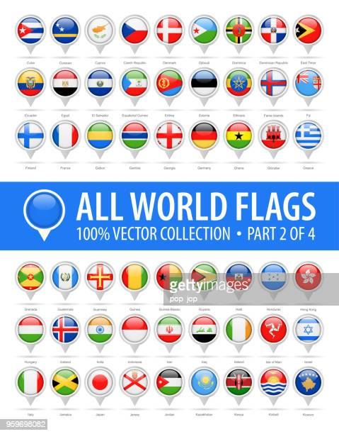 world flag round pins - vector glossy icons - part 2 of 4 - brooch stock illustrations